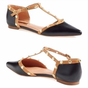 Halogen Olson Pointy Toe Studded T-Strap Flat
